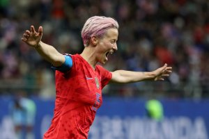 Megan Rapinoe of the USA celebrates after scoring her team's ninth goal during the 2019 FIFA Women's World Cup France group F match between USA and Thailand at Stade Auguste Delaune on June 11, 2019, in Reims, France. (Credit: Robert Cianflone/Getty Images)