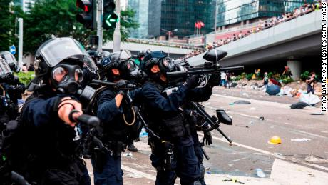 Police fire non-lethal projectiles during violent clashes against protesters in Hong Kong on June 12, 2019.