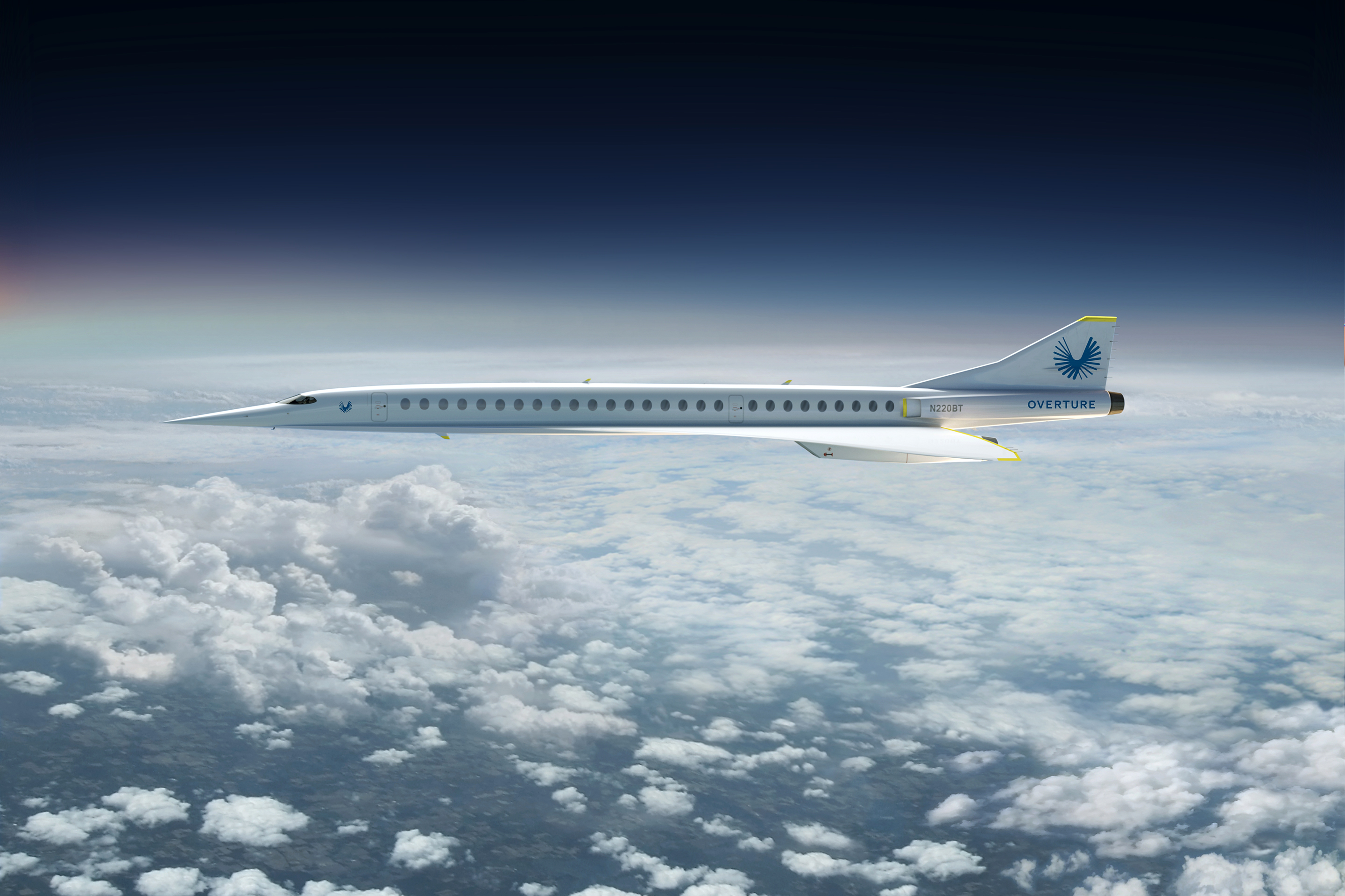 A computer-generated image of the Boom Supersonic 'Overtune' in flight. (Photo courtesy of