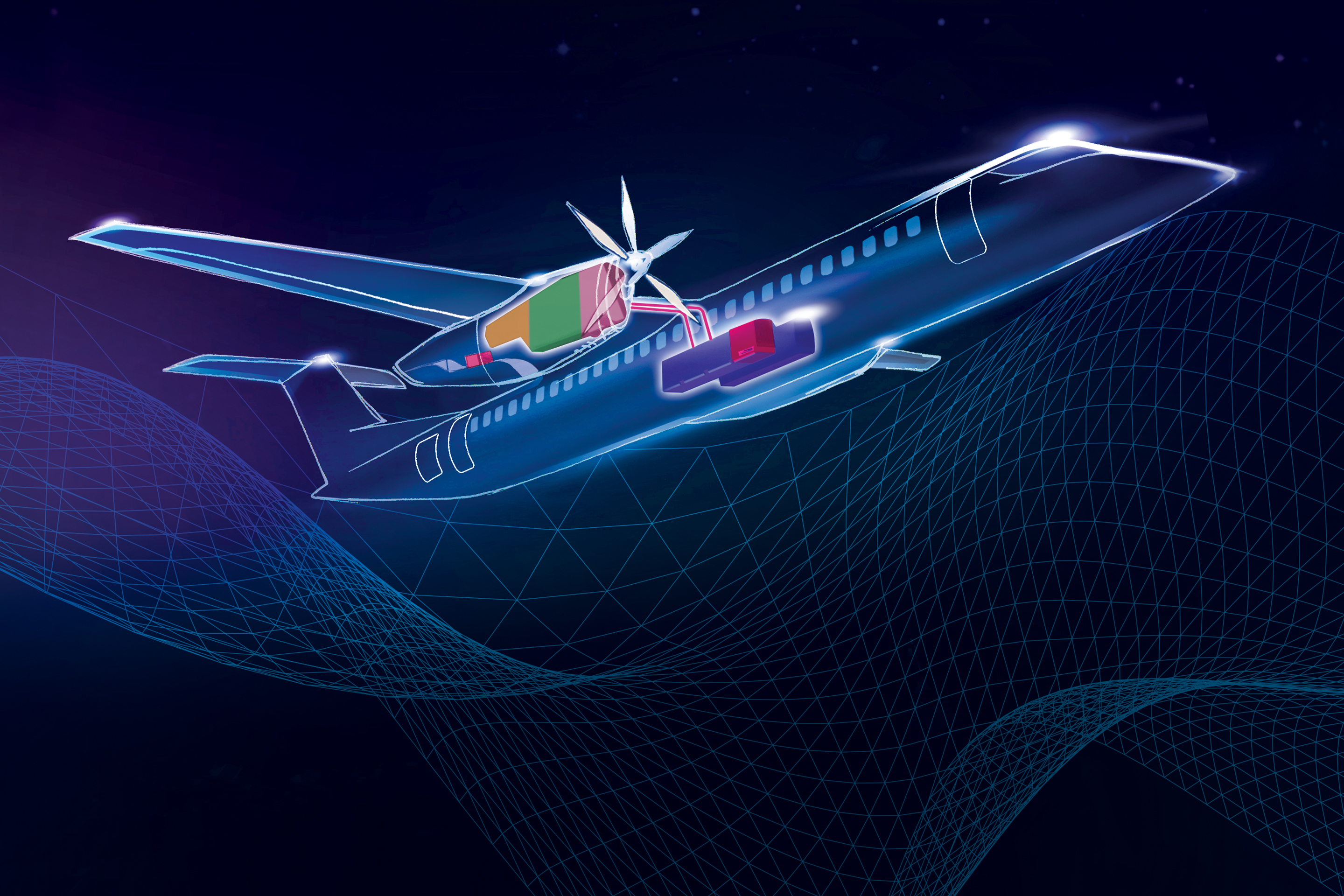 A graphic representation of the Project 804 hybrid propulsion system. (Photo c