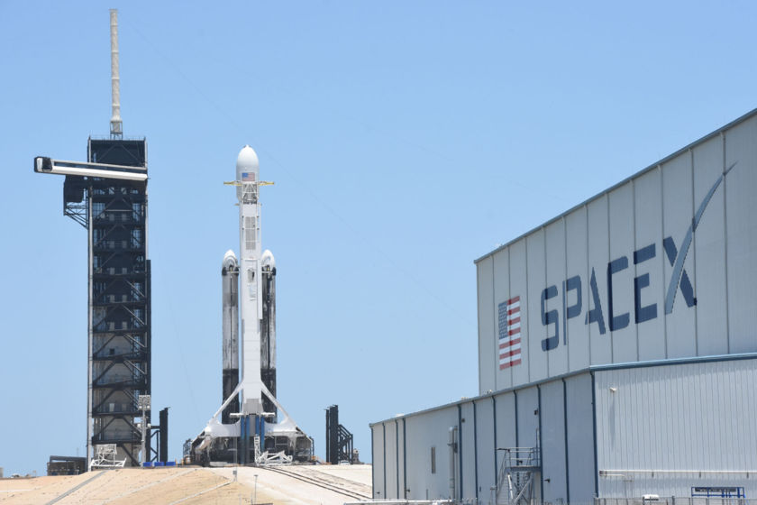STP-2 with LightSail 2 on the pad, from SpaceX hangar
