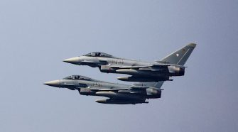 MUNSTER, GERMANY - MAY 20: Two Eurofighters fighting jets during a presentation of capabilities by the unit on May 20, 2019 in Munster, Germany. The brigade is the core of the Very High Readiness Joint Task Force (VJTF), which is a NATO rapid reaction force composed of soldiers from a variety of NATO nations. The German government recently announced it will increase defense spending by EUR 5 billion, the biggest rise since the end of the Cold War. (Photo by Morris MacMatzen/Getty Images)