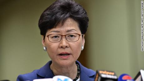 Chief Executive Carrie Lam holds a press conference in Hong Kong on June 10, 2019, a day after the city witnessed its largest street protest in at least 15 years as crowds massed against plans to allow extraditions to China.