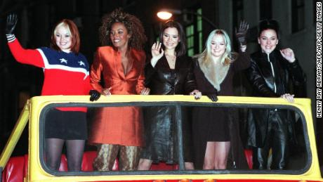 "The Spice Girls arrive for a screening of their movie ""Spice World"" in New York in 1998."