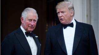 US President Donald Trump and Prince Charles, Prince of Wales pose ahead of a dinner at Winfield House on June 04, 2019