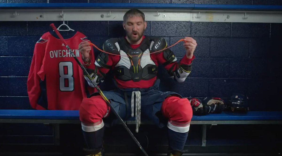 Alex Ovechkin is very impressed by CCM's silly putty-esque technology in new commercial