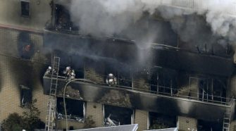 Firefighters battle the blaze started by an arsonist at a three-story studio of Kyoto Animation Co in Kyoto, western Japan, on Thursday morning (Photo: Kyodo)