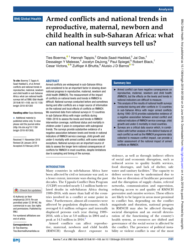 Armed conflicts and national trends in reproductive, maternal, newborn and child health in sub-Saharan Africa: What can national health surveys tell us? - World