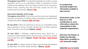 Attacks on Health Care Monthly News Brief - June 2019 - World