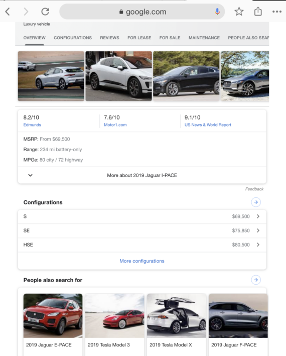 Jaguar I-Pace Google search results page