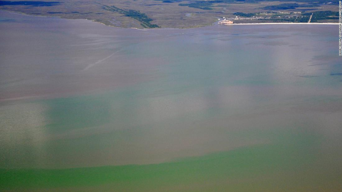 A toxic algae bloom can be seen from the air along the Mississippi coast on June 25, 2019.