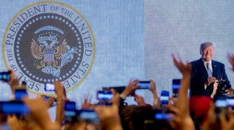Fake presidential seal at Trump Turning Point event by Charles Leazott