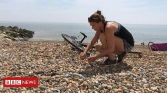 Plastic pollution: Cycle-challenge woman 'speechless' at beach waste