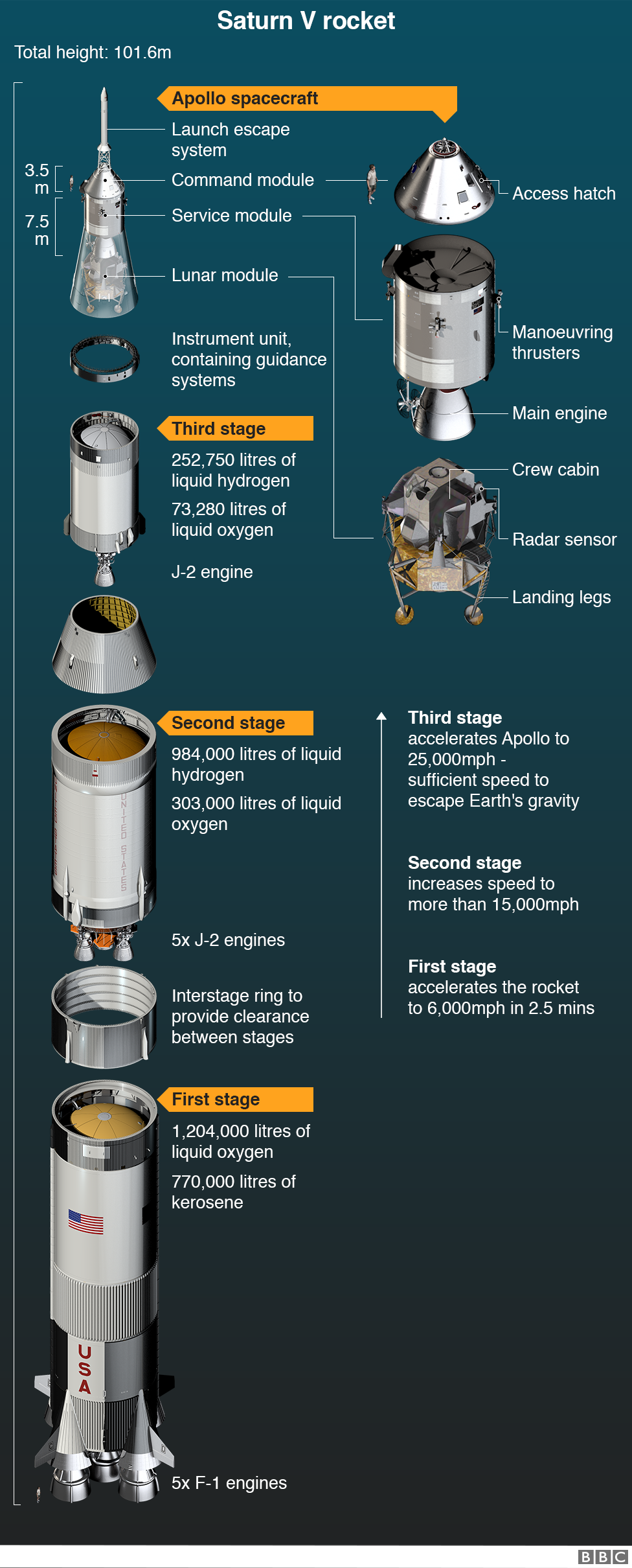 Saturn V rocket showing detail of stages and Apollo spacecraft
