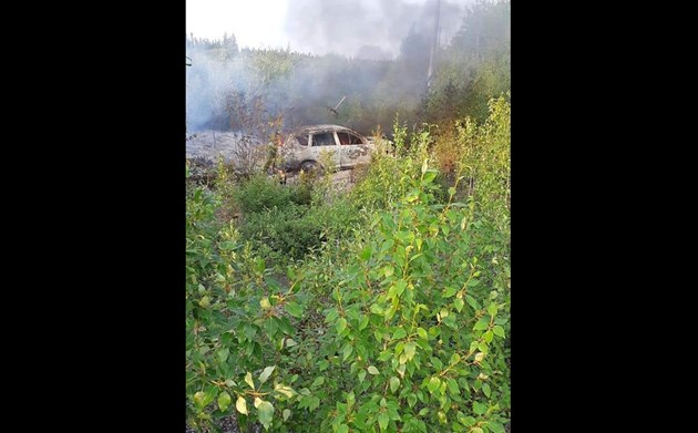 Fire-damaged SUV found in Manitoba linked to northern B.C. homicide suspects, RCMP confirm