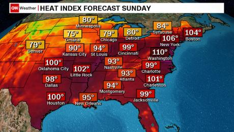 Heat index forecasts for Sunday, as of the early morning.