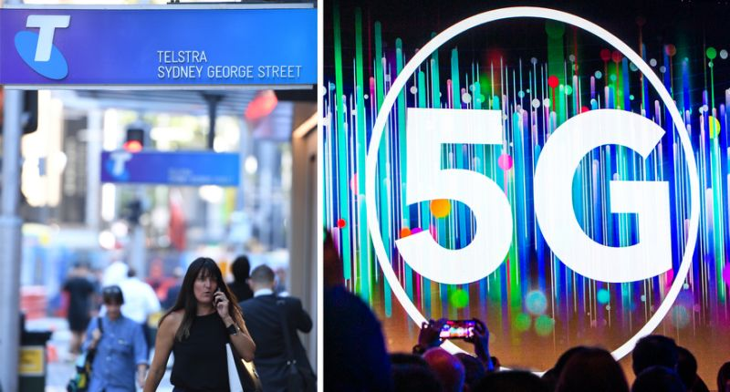 Mobile customers user their phone outside a Telstra store (left). The hype for 5G is real (right).