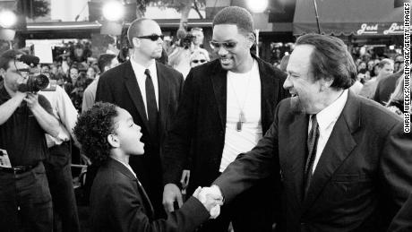 Will Smith, center, and Rip Torn, right during Men in Black II Premiere at Mann Village Theatre in Westwood, California, United States.