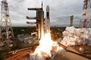 """A handout photo made available by the Indian Space Research Organisation (ISRO) shows ISRO orbiter vehicle """"Chandrayaan-2"""", India""""s first moon lander and rover mission planned and developed by the ISRO GSLV MKIII-M1, blasting off from a launch pad at Satish Dhawan Space Centre in Sriharikota, in the Southern Indian state of Tamil Nadu, India, 22 July 2019"""