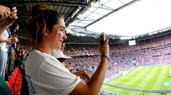Supporters of England Women during the World Cup Women match between England v USA at the Stade de Lyon on July 2, 2019 in Lyon France