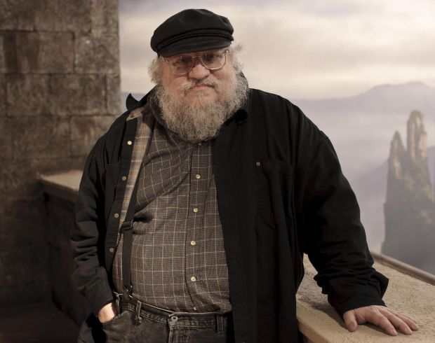 George RR Martin on the Game of Thrones set during filming of the first series