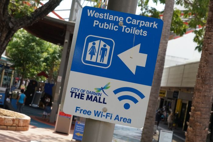 A free Wi-Fi sign in Darwin city