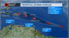 Tropical Storm Dorian heading toward the Caribbean by the middle of next week.