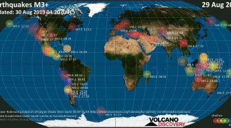 World map showing earthquakes above magnitude 3 during the past 24 hours on 30 Aug 2019