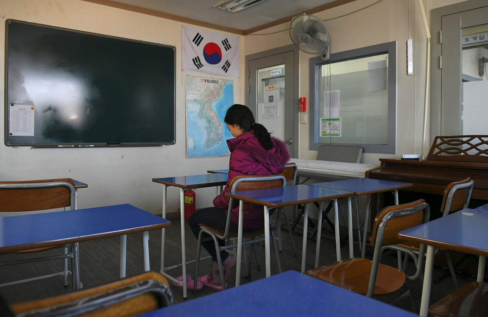 File image of a defector in a training centre in Seoul