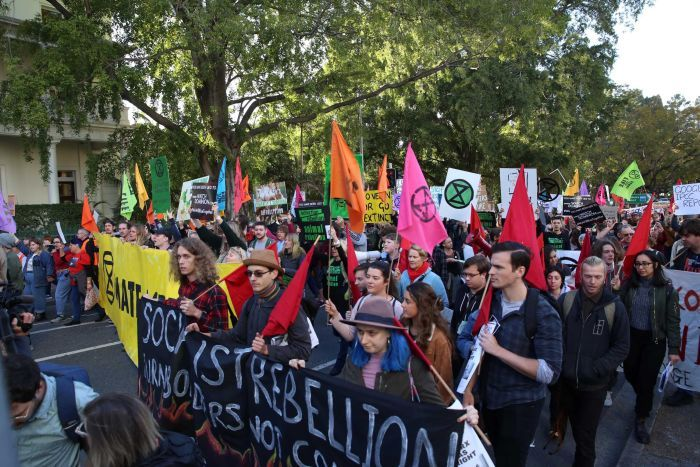 Hundreds of people holding flags and signs about the environment and climate change march on the road in Brisbane CBD.