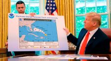 Trump shows apparently altered Dorian trajectory map