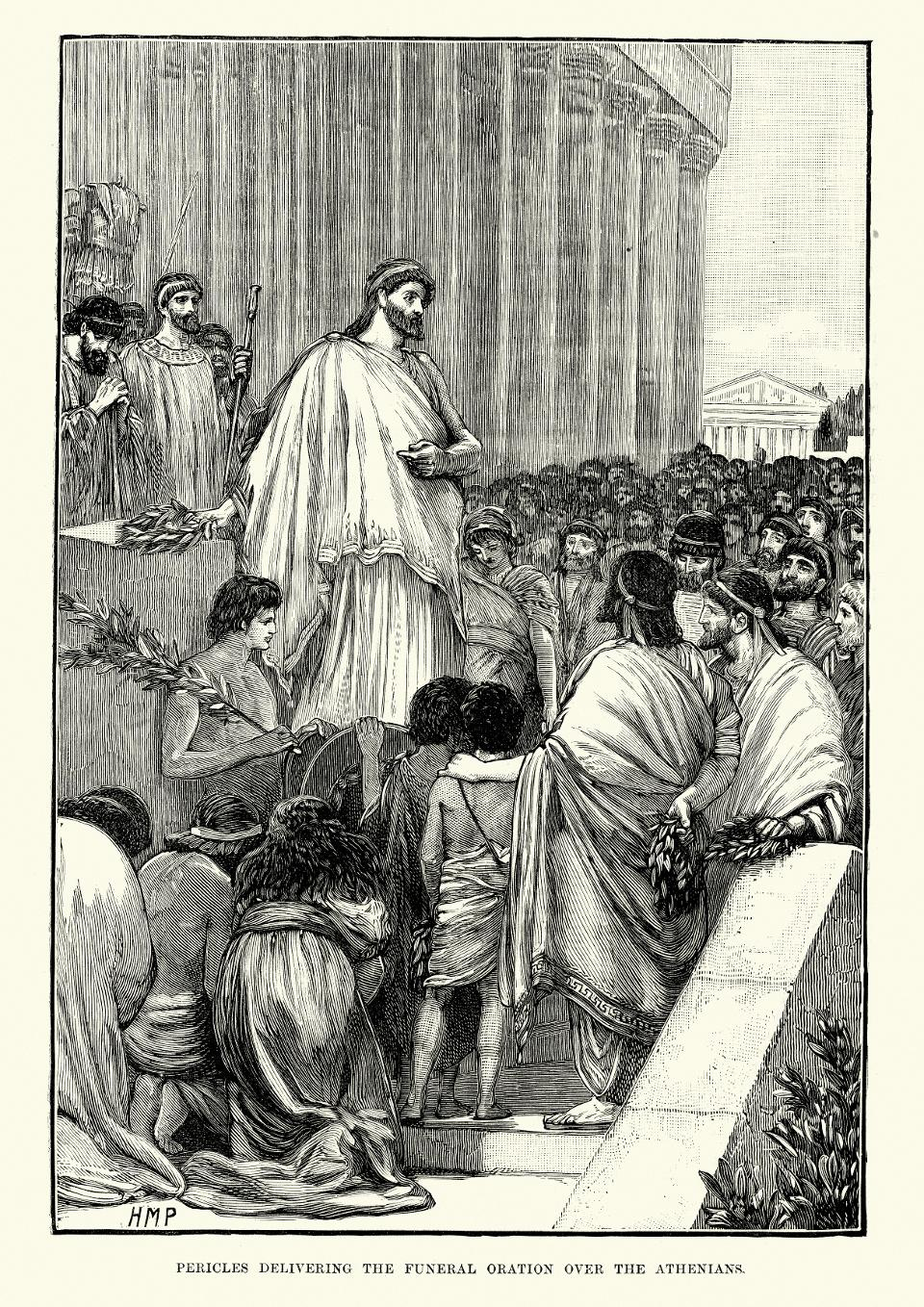 Pericles delivering the funeral oration over Athenians