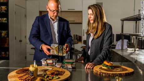 Paul Mankowski, head of research and development for Nestlé Foods, and Kelly Swette showcase products in the test kitchen at Sweet Earth.