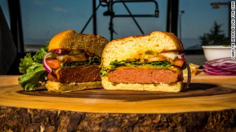 """The Awesome Burger should be """"pink to warm-red"""" in the middle when done, according to the patty's package."""