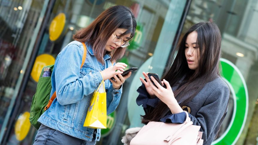 Two women texting on their mobile phones