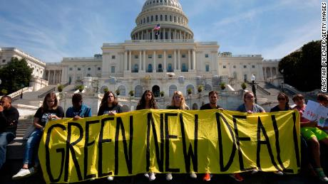Students and activists march to the US Capitol during the Global Climate Strike in Washington, DC on September 20, 2019.
