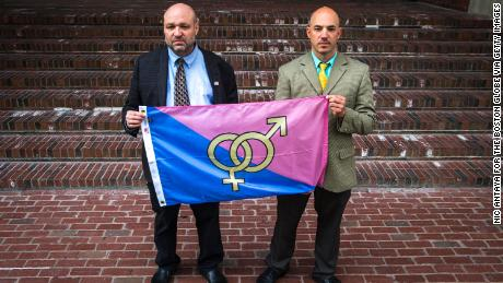 John Hugo, left, and Samson Racioppi are leaders of the group that organized the 'Straight Pride' parade.
