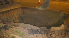 Water main break in Colorado Springs leaves gaping hole on Union