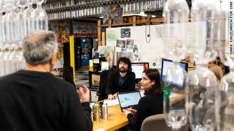 Szaky's company TerraCycle transforms hard-to-recycle items, like batteries, backpacks and coffee capsules, into something new. (Mark Kauzlarich for CNN)