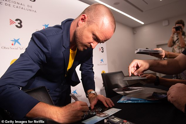 Sweet:Ever a humble and friendly person, Aaron happily took the time to sign memorabilia for fans inside the festival after discussing the movie