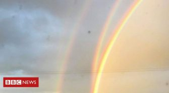 Quadruple rainbow photographed in Orkney