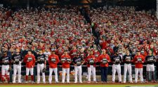 Fans, players and officials took a quick break from the World Series to stand up to cancer