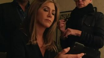 Not happy:Jennifer Aniston hilariously apologized for breaking the internet on Wednesday, sharing a video from The Morning Show where she threw her phone in rage