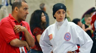 17-year old karate champion competes in a hijab