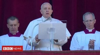 Pope in Christmas message urges softening of 'self-centred hearts'