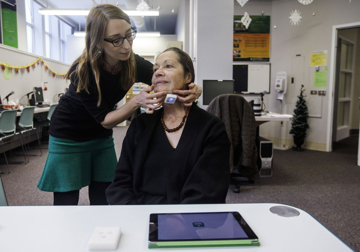 Researchers say new technology helps some patients with neck and tongue cancer relearn how to swallow food