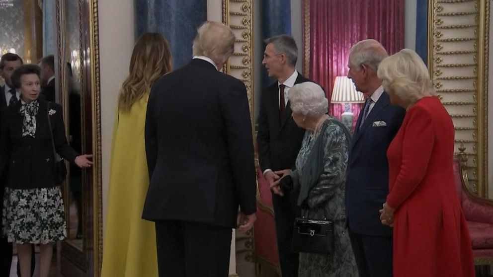 Social media sounds off over queen's interaction with Princess Anne, President Trump at royal reception
