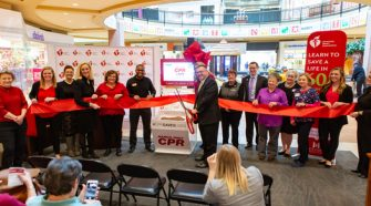 The latest CPR training kiosk was installed at Jordan Creek Town Center in West Des Moines this week. (AHA)