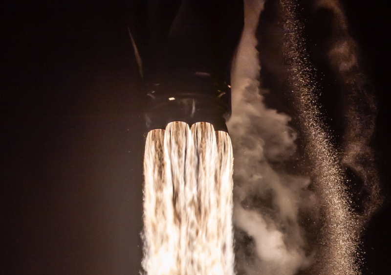 This Falcon 9 rocket has launched three times, including on the Telstar VANTAGE 18 mission in 2018.