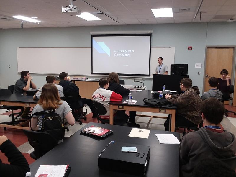 "Eric Rouin, a senior at Lancaster High School, delivers one of the many presentations held as part of Western New York Informational Technology 2020, a ""for students by students"" conference hosted Friday at ECC's North Campus."